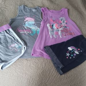 2 Girls Outfits, Wonder Nation, Size 6-6x